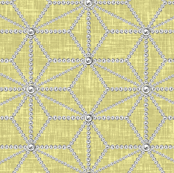 Pearls in a hemp leaf pattern on beige-yellow linen-weave by Su_G