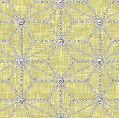 Pearls in a hemp leaf pattern on beige-yellow linen-weave by Su_G