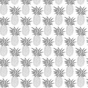 Petite pi pineapples - greyscale