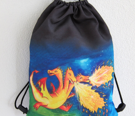 Three Headed Dragon Gym Sack for Boys