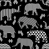 Geo Pattern Elephants on Black