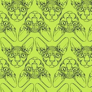 Sphynx lines fabric Lime Green