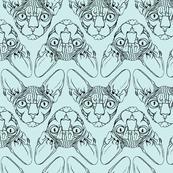 Sphynx lines fabric baby blue