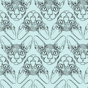Sphynx lines fabric baby blue