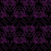 Sphynx lines fabric black & purple