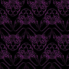 Sphynx lines fabric black & purple
