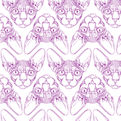 Sphynx lines fabric white & purple