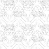 Sphynx lines fabric white & grey