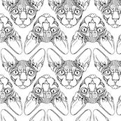 Sphynx lines fabric white & black