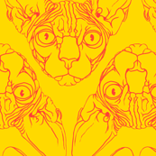 Sphynx lines fabric yellow & orange