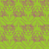 Sphynx lines fabric lime green & purple