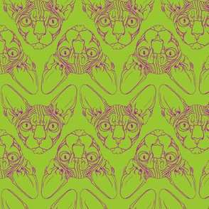 Sphynx lines fabric lime green & purple