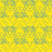 Sphynx lines fabric yellow & blue