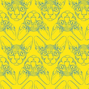 Sphynx lines fabric yellow & blue