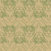 Sphynx lines fabric khaki & forest green