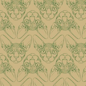 Sphynx lines fabric khaki & forest green