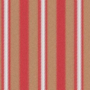 Ripple Stripe Tan Red and White