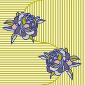springtime art deco peony pin stripe