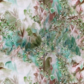 Dreamscape 1, small scale, half drop repeat,  dusty rose, teal