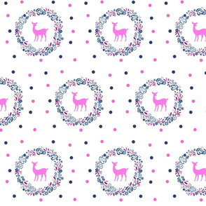 Berry Ocean  polka dots Deer shabby chic rose wreath