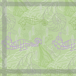 seahorses and seashells on green kitchen towel