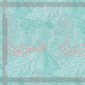 Seahorses & Seashells in blues kitchen towel