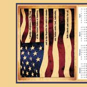 2017 US Flag Pledge calendar tea towel