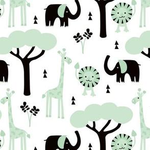 Quirky african zoo animals giraffe elephant and lion safari kids mint