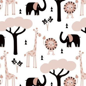 Quirky african zoo animals giraffe elephant and lion safari kids beige gender neutral