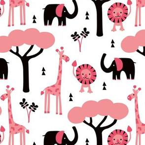 Quirky african zoo animals giraffe elephant and lion safari kids beige girls pink