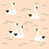 Swans - geometric, origami, monochrome on blush, peach, black and white, kids nursery baby design || by sunny afternoon