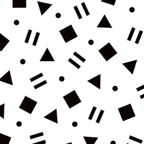 Super trendy geometric shapes squares triangles and dots abstract memphis retro black and white