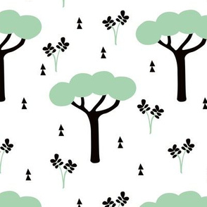 Quirky african zoo safari forest trees and plants and geometric arrows kids mint
