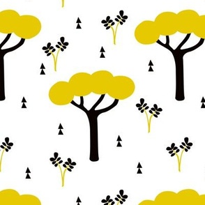 Quirky african zoo safari forest trees and plants and geometric arrows kids yellow ochre
