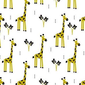 Quirky african zoo animals giraffe safari kids yellow genser neutral