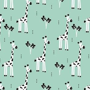Quirky african zoo animals giraffe safari kids baby boy mint