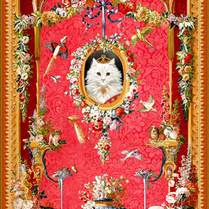 white cats royalty queen Persian birds roosters crowns tiaras dogs paradise pekingese parrots ravens crows neoclassical victorian baroque rococo swags medallions frames flowers floral roses  shabby chic romantic festoon bows ribbons princesses