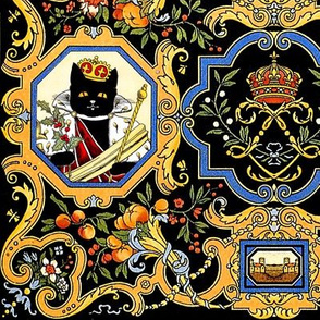 black cats queens kings royalty sceptres crowns mistletoe floral flowers leaves leaf fruits peaches cherry cherries oranges tangerines berry berries sash capes filigrees coat of arms shabby chic romantic victorian horn plenty houses castles baroque rococo