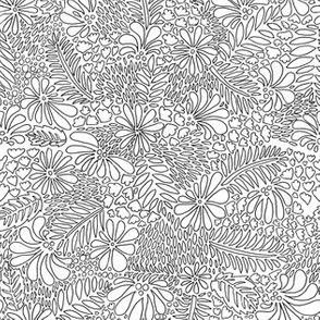 Tropical Floral - black & white