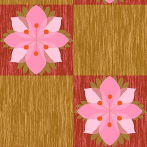 Pink Flowers on Checkerboard Wood