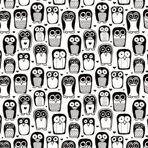 Cool quirky penguins and owls birds for cool kids in black and white