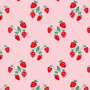 Sweet summer strawberry fruit colorful pastel mint pink red