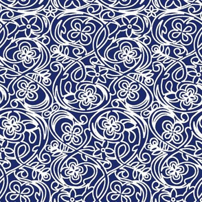 Flower Garden on Dark Blue