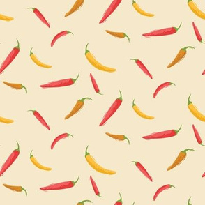 Red, orange and yellow hot chili peppers