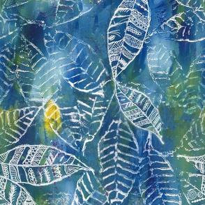 Tribal Leaves Watercolor Blue