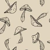 Wonky mushrooms - on beige
