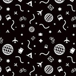 Cityicons Postmodern Travel Print - Black/White