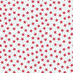Stars and Dots - Red Blue and White
