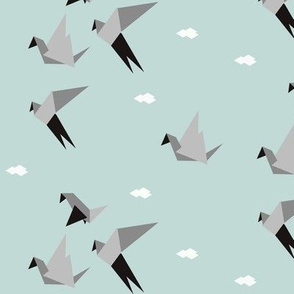 Origami birds - geometric, seafoam mint, grey, monochrome, modern || by sunny afternoon