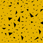 Scattered triangles - black on mustard gold geometric abstract modern || by sunny afternoon